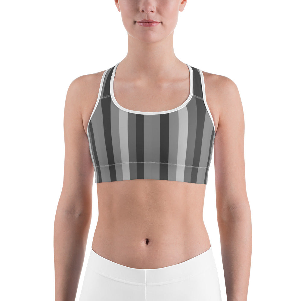 Gray Vertically Striped With Red Hearts All-American Women's Sports Bra-Sports Bras-XS-Heidi Kimura Art LLC