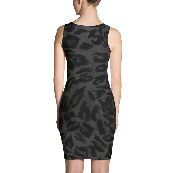 Dark Black Gray Leopard Animal Print Women's One Piece Dress - Made in USA/ Europe-Women's Sleeveless Dress-Heidi Kimura Art LLC