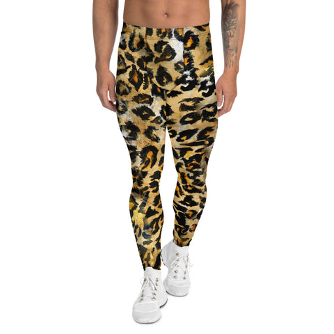 Leopard Rave Men's Leggings, Animal Print Meggings-Made in USA/EU-Heidi Kimura Art LLC-XS-Heidi Kimura Art LLC Leopard Rave Men's Leggings, Wild Animal Print Premium Classic Elastic Comfy Men's Leggings Fitted Festival Tights Pants - Made in USA/EU (US Size: XS-3XL) Spandex Meggings Men's Workout Gym Tights Leggings, Compression Tights, Kinky Fetish Men Pants