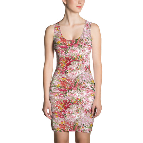 Red Floral Print Women's Dress, Long Sleeveless 1-piece Designer Dress-Made in USA/EU-Heidi Kimura Art LLC-XS-Heidi Kimura Art LLC Fall Floral Print Women's Dress, Mixed Orange Red Floral Print Women's Long Sleeveless Designer Premium Dress - Made in USA/EU (US Size: XS-XL)