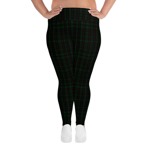 Dark Green Plaid Plus Size Tights, Tartan Print Plus Size Leggings-Made in USA/EU-Heidi Kimura Art LLC-Heidi Kimura Art LLC Dark Green Plaid Plus Size Tights, Scottish Tartan Classic Traditional Designer Women's Leggings Plus Size, Women's Yoga Pants Long Plus Size Leggings - Made in USA/EU (US Size: 2XL-6XL)