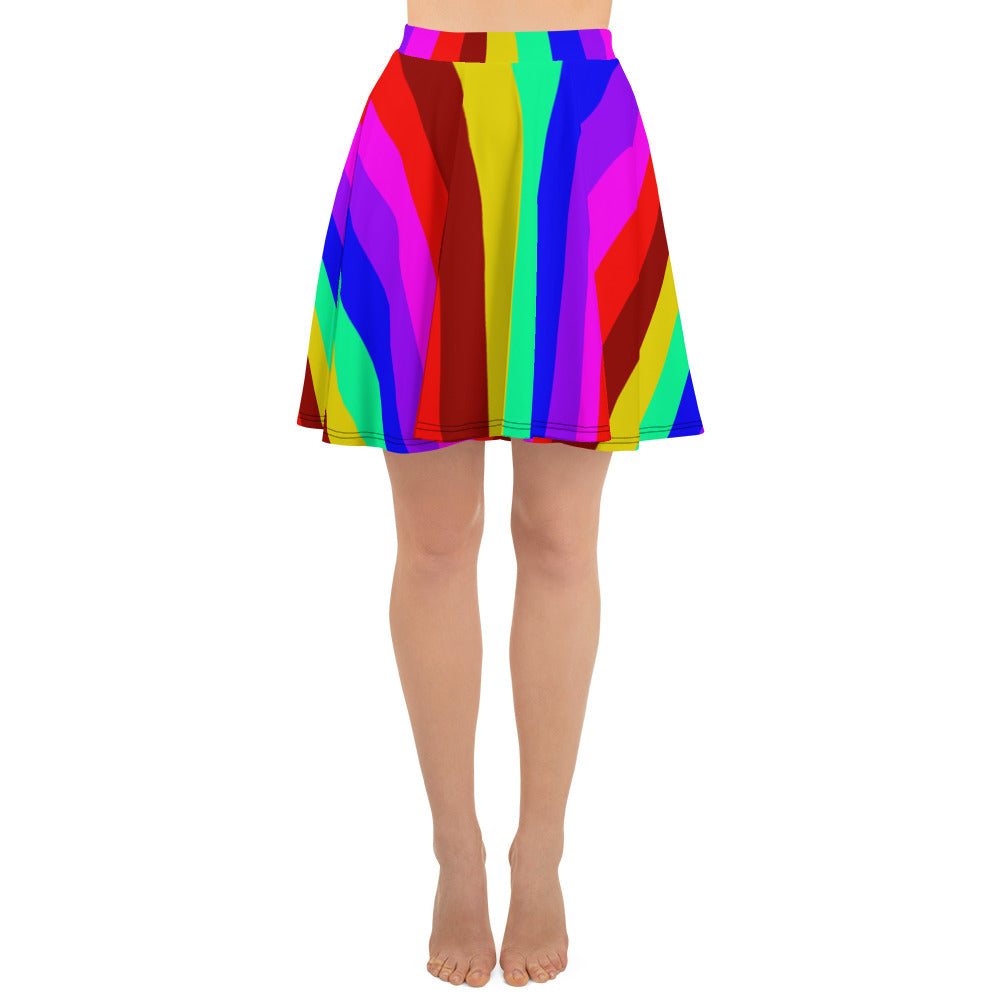 Hippie Rainbow Gay Pride Print High-Waisted Women's Skater Skirt-Made in USA/EU-Skater Skirt-XS-Heidi Kimura Art LLC