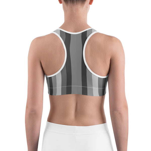 Gray Vertically Striped With Red Hearts All-American Women's Sports Bra-Sports Bras-Heidi Kimura Art LLC