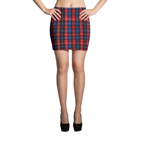 Classic Red Plaid Tartan Print Women's Mini Skirt - Made in USA/ EU (Size XS-XL)-Skirts-XS-Heidi Kimura Art LLC