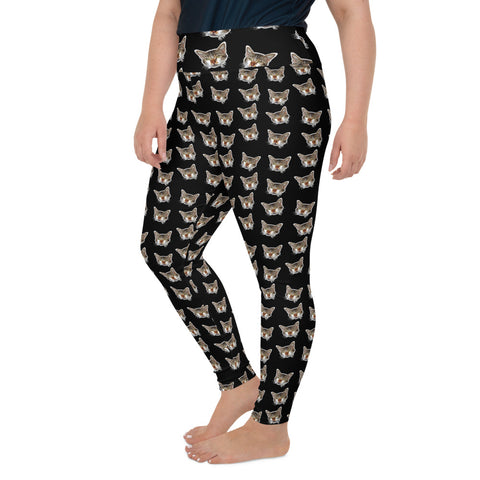Black Cat Print Plus Size Leggings, Long Yoga Pants For Curvy Ladies- Made in USA/EU-Women's Plus Size Leggings-Heidi Kimura Art LLC