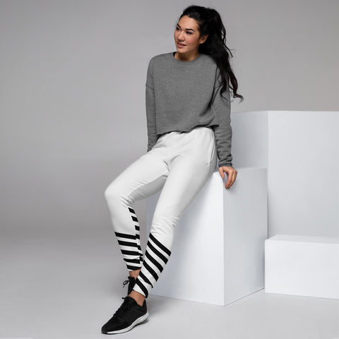 Black White Striped Women's Joggers, Diagonal Stripes Slim Fit Soft Women's Joggers Sweatpants -Made in EU (US Size: XS-3XL) Plus Size Available, Women's Joggers, Soft Joggers Pants Womens, Women's Long Joggers, Women's Soft Joggers, Lightweight Jogger Pants Women's, Women's Athletic Joggers, Women's Jogger Pants