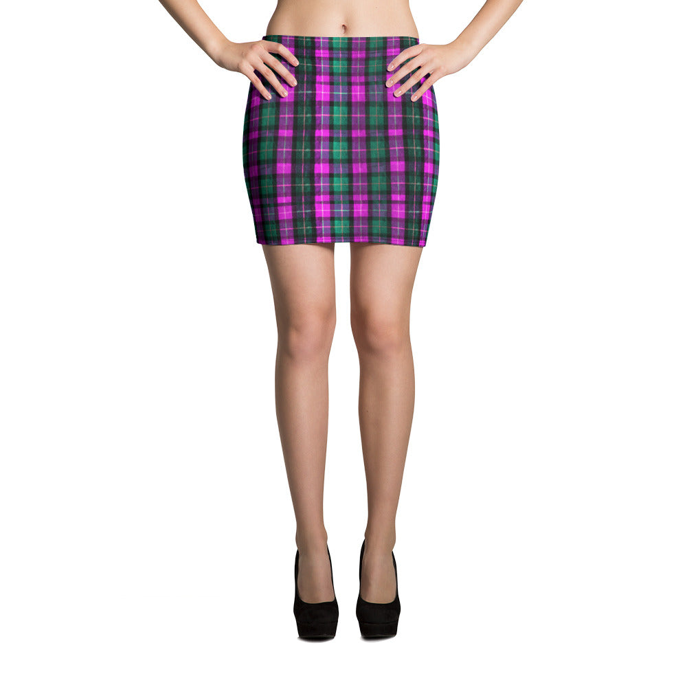 Classic Pink Green Plaid Tartan Print Mid Thigh Women's Mini Skirt - Made in USA/ EU-Skirts-XS-Heidi Kimura Art LLC