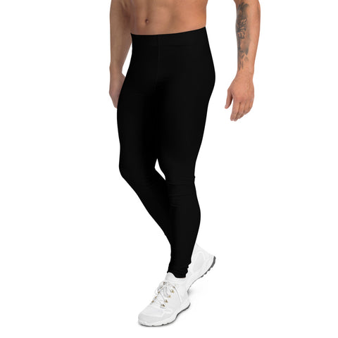 Black Solid Color Men's Leggings, Modern Sporty Meggings-Made in USA/EU-Heidi Kimura Art LLC-Heidi Kimura Art LLC Black Solid Color Meggings, Modern Minimalist Solid Color Print Premium Classic Elastic Comfy Men's Leggings Fitted Tights Pants - Made in USA/EU (US Size: XS-3XL) Spandex Meggings Men's Workout Gym Tights Leggings, Compression Tights, Kinky Fetish Men Pants