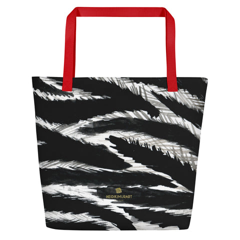 "Chic Black White Zebra Animal Pattern Print Large Tote 16""x20"" Beach Bag- Made in USA/EU-Beach Tote Bag-Red-Heidi Kimura Art LLC"