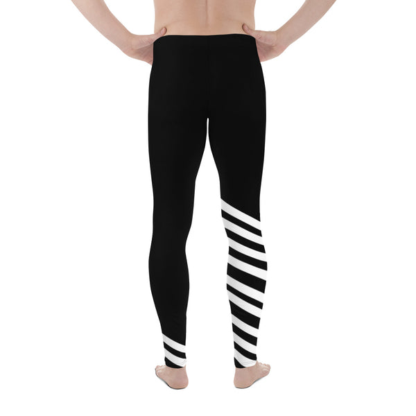 e94ab35c531ce Yoshi Black and White Diagonal Striped Men's Athletic Running Leggings & Run  Tights Meggings Activewear Bottom - Made in USA/ Europe (US Size: XS-3XL)