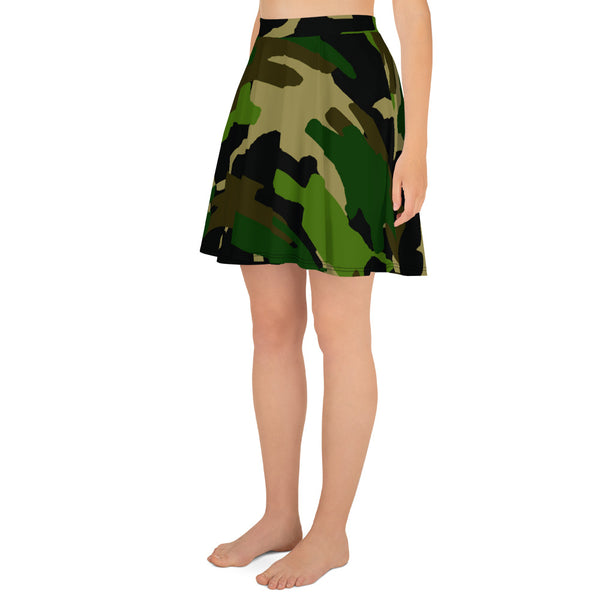 Green Camouflage Military Army Print Premium Women's Skater Skirt - Made in USA/ EU-Skater Skirt-Heidi Kimura Art LLC