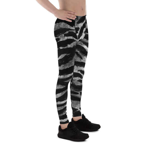 Black Tiger Stripe Print Meggings, Men's Yoga Pants Running Leggings- Made in USA/EU-Men's Leggings-Heidi Kimura Art LLC