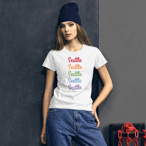 Seattle Rainbow Print Gay Pride 100% Cotton Women's Short Sleeve T-shirt (US Size: S-XL)-T-Shirt-White-S-Heidi Kimura Art LLC