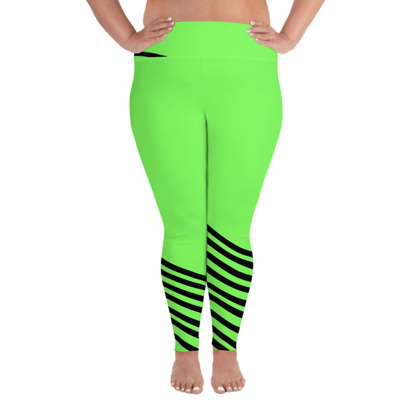 Neon Green Black Diagonal Stripe Women's Elastic Plus Size Leggings - Made in USA-Women's Plus Size Leggings-2XL-Heidi Kimura Art LLC