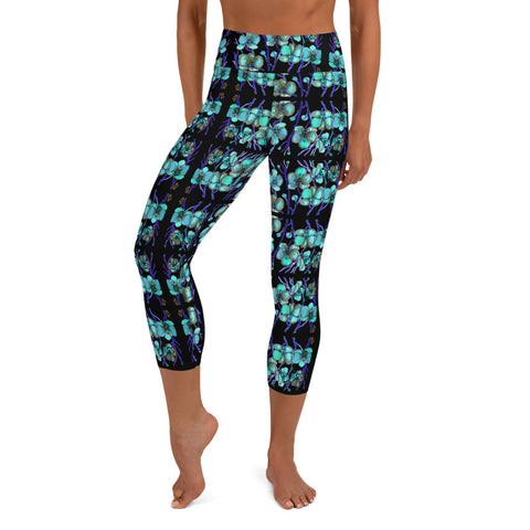 Blue Orchids Yoga Capri Leggings, Floral Print Women's Yoga Capri Leggings Pants High Performance Tights- Made in USA/EU (US Size: XS-XL)