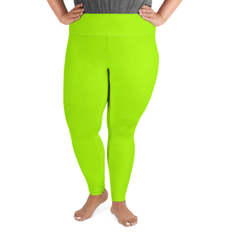 Neon Green Women's Leggings, Modern Bright Green Solid Color Women's Leggings Plus Size, Women's Yoga Pants Long Plus Size Leggings - Made in USA/EU (US Size: 2XL-6XL)