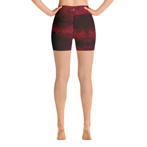 Red Abstract Women's Yoga Shorts-Heidikimurart Limited -Heidi Kimura Art LLC Red Abstract Women's Yoga Shorts, Designer Wine Red Workout Gym Tights, Premium Quality Women's High Waist Spandex Fitness Workout Yoga Shorts, Yoga Tights, Fashion Gym Quick Drying Short Pants With Pockets - Made in USA/EU/MX (US Size: XS-XL) Yoga Bottoms, Yoga Clothes, Activewewar, Best Women's Yoga Shorts, Women's Athletic Shorts, Running, Workout, Yoga Tights