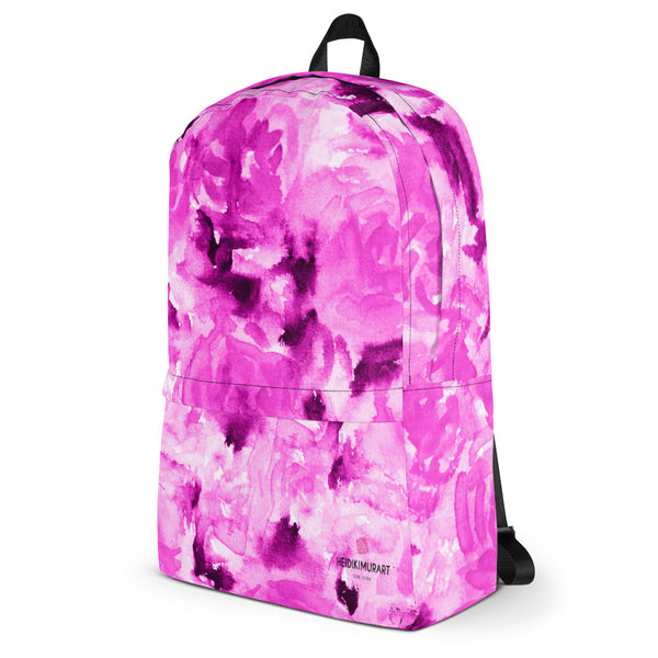"Pink Rose Watercolor Floral Print Medium Size (Fits 15"" Laptop) Backpack - Made in USA/EU-Backpack-Heidi Kimura Art LLC"