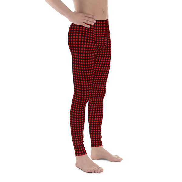 Buffalo Red Plaid Men's Leggings, Christmas Style Festive Meggings For Men-Made in USA/EU-Men's Leggings-Printful-Heidi Kimura Art LLC