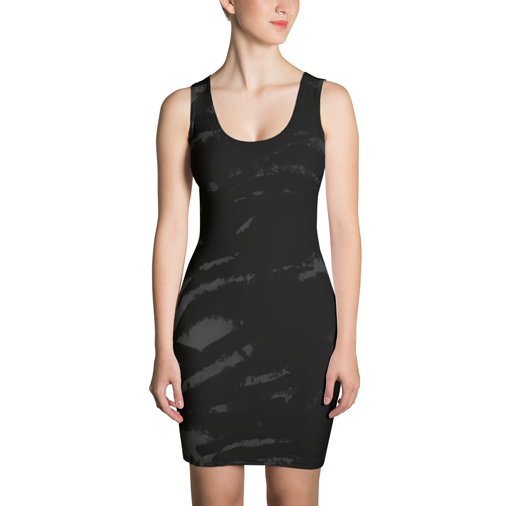 Black Tiger Striped Women's Sleeveless 1-pc Little Black Tank Dress - Made in USA/ Europe-Women's Sleeveless Dress-XS-Heidi Kimura Art LLC Black Tiger Striped Dress, Black Tiger Striped Animal Print Women's Sleeveless Little Black Tank Dress - Made in USA/ Europe (US Size: XS-XL)