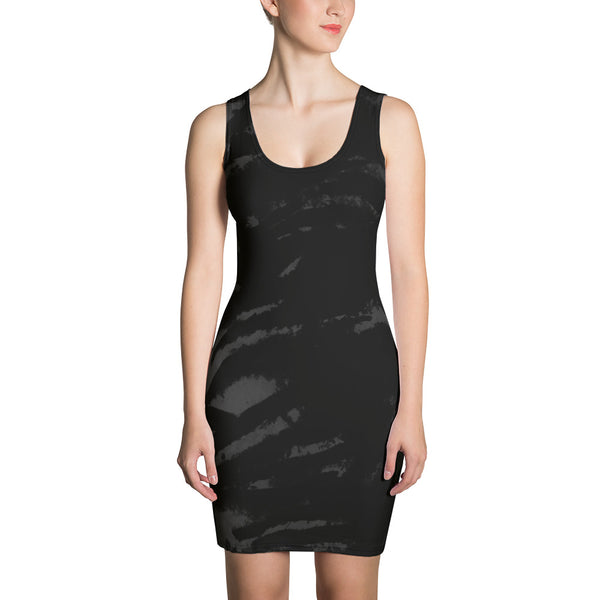 Ami 1-pc Tiger Striped Women's Sleeveless Little Black Tank Dress - Made in USA/ Europe (US Size: XS-XL) Ami 1-pc Tiger Striped Women's Sleeveless Little Black Tank Dress - Made in USA/ Europe