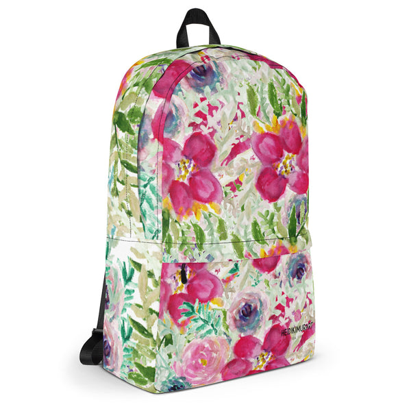 "Pink Watercolor Floral Print Designer Medium Size (Fits 15"" Laptop) Backpack-Made in USA/ Europe-Backpack-Heidi Kimura Art LLC"