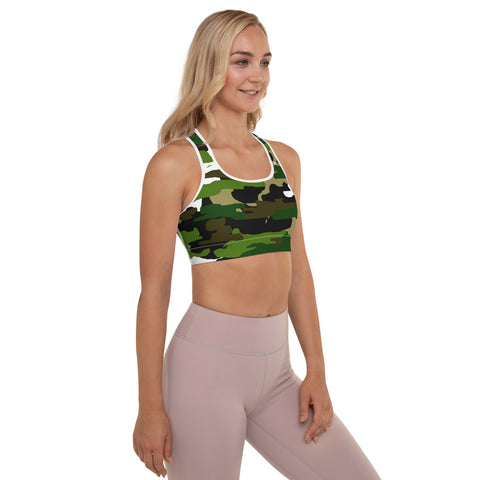 Green White Camo Military Print Women's Padded Workout Sports Bra- Made in USA/EU-Sports Bras-Heidi Kimura Art LLC Green Camo Women's Sports Bra, Green White Brown Camo Military Army Print Women's Padded Sports Bra-Made in USA/ EU (US Size: XS-2XL) Military Camouflage Sports Bra, Green Military Army Print Camo Print Women's Gym Yoga Bra