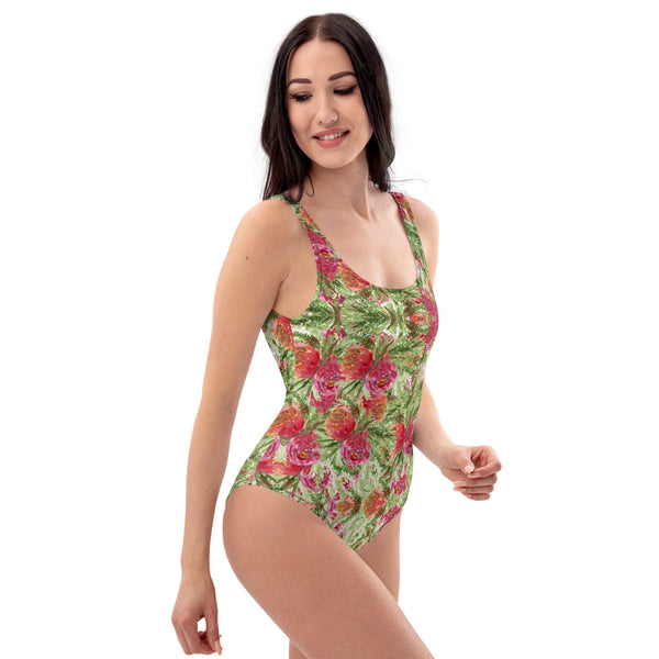 Red Roses One-Piece Swimsuit, Garden Rose Floral Print Women's Swimwear-Made in USA/EU-Heidi Kimura Art LLC-Heidi Kimura Art LLC Red Roses One-Piece Swimsuit, Garden Rose Floral Print Luxury 1-Piece Unpadded Swimwear Bathing Suits, Beach Wear - Made in USA/EU/MX (US Size: XS-3XL) Plus Size Available