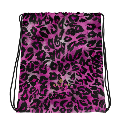 "Pink Leopard Animal Print Designer 15""x17"" Premium Drawstring Bag- Made in USA/EU-Drawstring Bag-Heidi Kimura Art LLC"
