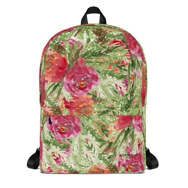 "Orange Red Rose Watercolor Floral Print Medium Size (Fits 15"" Laptop) Backpack Bag-Backpack-Heidi Kimura Art LLC Red Rose Floral Backpack, Orange Red Rose Watercolor Floral Print Designer Medium Size (Fits 15"" Laptop) Backpack - Made in USA/ Europe"