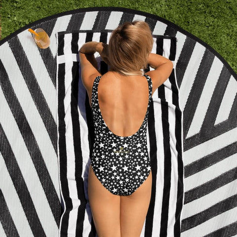 Black White Star Women's Swimwear, Stars Pattern Women's One-Piece Swimwear Bathing Suits Sexy Luxury Beach Wear - Made in USA/EU (US Size: XS-3XL) Plus Size Available