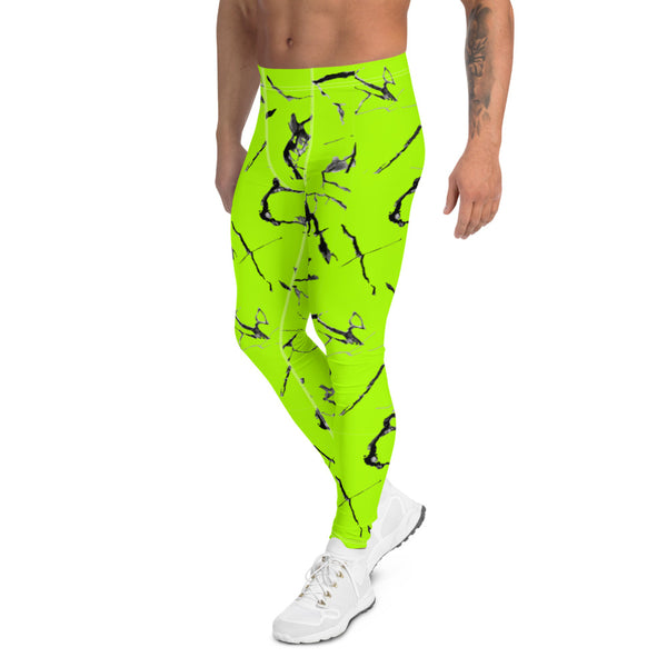 Bright Neon Green Men's Leggings, Marble Print Meggings Compression Tights-Heidikimurart Limited -Heidi Kimura Art LLC Bright Neon Green Men's Leggings, Marble Print Abstract  Men's Leggings Tights Pants - Made in USA/EU (US Size: XS-3XL)Sexy Costume, Bright Colorful Party Meggings Men's Workout Gym Tights Leggings