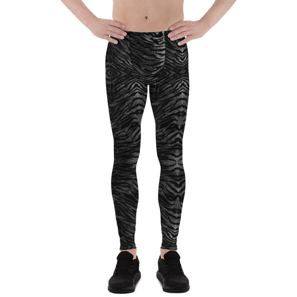 Black Tiger Striped Print Meggings, Sexy Animal Print Designer Men's Leggings-Heidikimurart Limited -Heidi Kimura Art LLCBlack Tiger Striped Print Meggings, Sexy Animal Print Designer Men's Leggings Tights Pants - Made in USA/MX/EU (US Size: XS-3XL) Sexy Meggings Men's Workout Gym Tights Leggings, Compression Tights