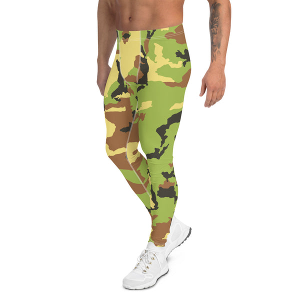 Green Camouflage Print Men's Leggings, Camo Military Army Meggings-Made in USA/EU-Heidikimurart Limited -Heidi Kimura Art LLC Green Camo Print Men's Leggings, Camouflage Army Military Print Men's Leggings, Camo Men's Modern Meggings, Men's Leggings Tights Pants - Made in USA/EU (US Size: XS-3XL) Sexy Meggings Men's Workout Gym Tights Leggings