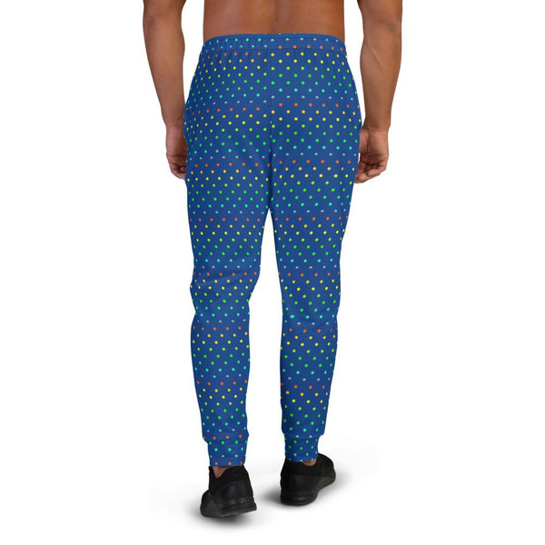 Blue Rainbow Men's Joggers, Cobalt Blue Rainbow Gay Pride Polka Dots Print Designer Ultra Soft & Comfortable Men's Joggers, Men's Jogger Pants-Made in EU (US Size: XS-3XL) Cobalt Blue Rainbow Polka Dots Print Designer Men's Joggers-Made in EU-Men's Joggers-Heidi Kimura Art LLC