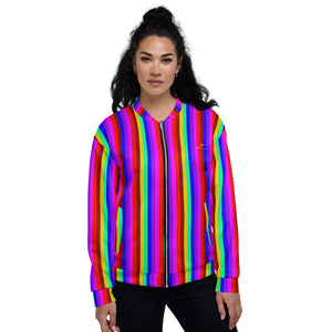 Rainbow Vertical Striped Bomber Jacket, Unisex Jacket For Men or Women-Heidi Kimura Art LLC-XS-Heidi Kimura Art LLC Rainbow Vertical Striped Bomber Jacket, Best Premium Quality Modern Unisex Jacket For Men/Women With Pockets-Made in EU