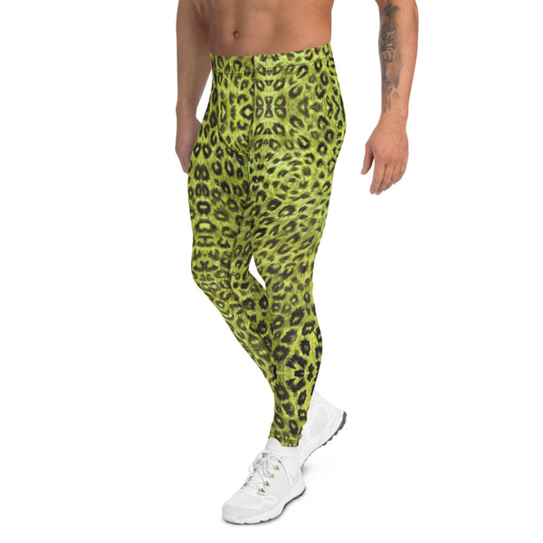 Yellow Leopard Men's Leggings, Animal Print Compression Running Tights-Made in USA/EU-Heidikimurart Limited -Heidi Kimura Art LLC Yellow Leopard Print Men's Leggings, Yellow Animal Print Leopard Modern Meggings, Men's Leggings Tights Pants - Made in USA/EU/MX (US Size: XS-3XL) Sexy Meggings Men's Workout Gym Tights Leggings