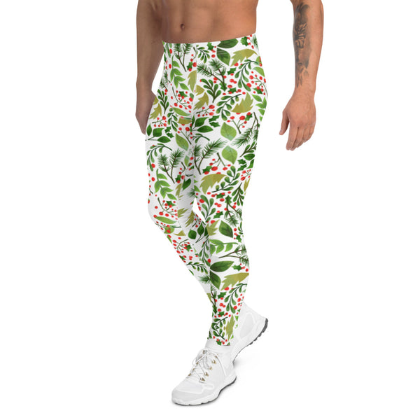 Christmas Floral Happy Men's Leggings, White Xmas Party Meggings Tights-Heidikimurart Limited -Heidi Kimura Art LLC Christmas Floral Happy Men's Leggings, White Xmas Party Sexy Meggings Men's Workout Gym Tights Leggings, Men's Compression Tights Pants - Made in USA/ EU (US Size: XS-3XL)