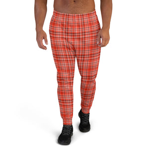 Orange Red Tartan Plaid Print Designer Men's Joggers Jogging Bottoms Pants - Made in EU-Men's Joggers-XS-Heidi Kimura Art LLC Red Plaid Men's Joggers, Orange Red Tartan Plaid Print Designer Ultra Soft & Comfortable Men's Joggers, Men's Fashion Jogger Pants With Pockets-Made in EU (US Size: XS-3XL) Mens Joggers, Jogging Bottoms, Mens Sweatpants