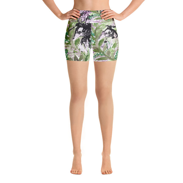 Purple French Lavender Colorful High Waist Floral Wreath Print Women's Yoga Shorts-Yoga Shorts-XS-Heidi Kimura Art LLC
