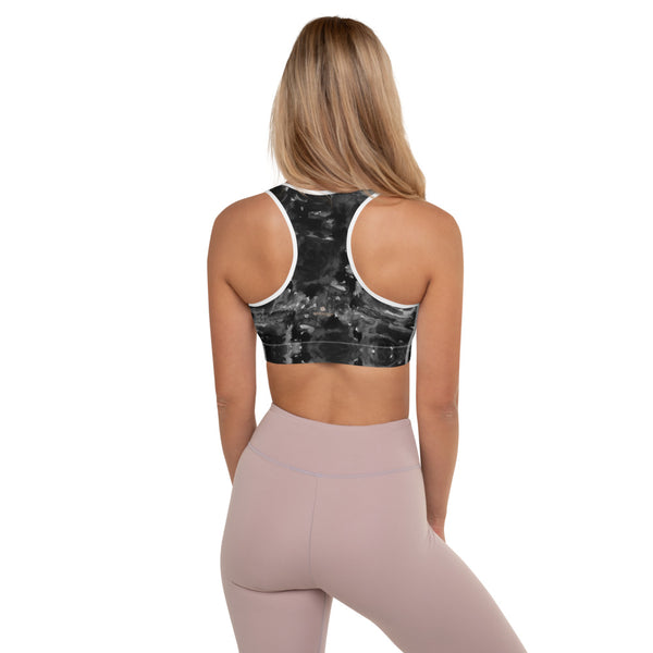 Black Floral Padded Sports Bra, Abstract Flower Rose Print Designer Premium Quality Women's Padded Yoga Gym Workout Sports Bra For Female Athletes or Dancers/ Yoga/ Pilates Lovers - Made in USA/ EU/ MX (US Size: XS-2XL)