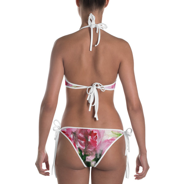 Pink Rose Floral Print Bikini Women's 2 pc Designer Swimsuit Swimwear- Made in USA/EU-Swimwear-Heidi Kimura Art LLC