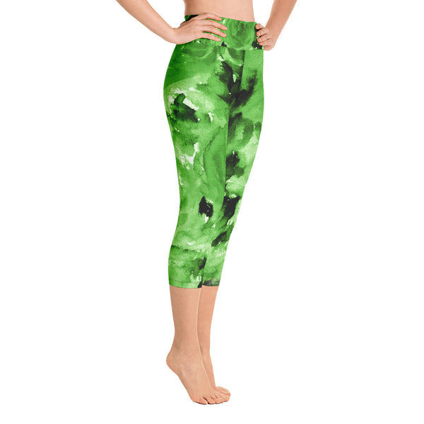 Green Rose Floral Print Capri Leggings Women's Capris Yoga Pants Tights- Made in USA/EU-Capri Yoga Pants-Heidi Kimura Art LLC Green Floral Capri Leggings, Apple Green Rose Floral Print Capri Leggings Women's Yoga Pants - Made in USA/EU (US Size: XS-XL)