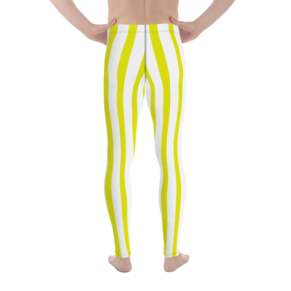 Yellow & White Stripes Men's Running Leggings & Run Tights Meggings-Made in USA/EU-Men's Leggings-Heidi Kimura Art LLC