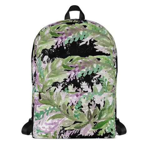 "Black Lavender Floral Print Women's Laptop Backpack - Made in USA/EU--Heidi Kimura Art LLC Black Lavender Backpack, Best Floral Print Designer Medium Size (Fits 15"" Laptop) Water Resistant College Unisex Backpack for Travel/ School/ Work - Made in USA/ Europe"