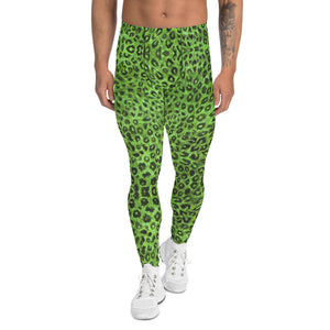 Light Green Leopard Men's Leggings, Animal Print Meggings Compression Tights-Heidikimurart Limited -XS-Heidi Kimura Art LLC Green Leopard Print Men's Leggings, Light Green Animal Print Leopard Modern Meggings, Men's Leggings Tights Pants - Made in USA/EU/MX (US Size: XS-3XL) Sexy Meggings Men's Workout Gym Tights Leggings