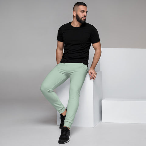Pale Green Men's Joggers, Best Light Green Solid Color Sweatpants For Men, Modern Slim-Fit Designer Ultra Soft & Comfortable Men's Joggers, Men's Jogger Pants-Made in EU/MX (US Size: XS-3XL)