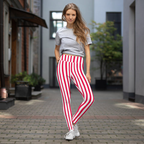 Red White Striped Yoga Leggings, Circus Vertically Stripes Women's Long Pants-Heidikimurart Limited -XS-Heidi Kimura Art LLC Red White Striped Yoga Leggings, Circus Vertically Stripes Patterned Colorful Ladies' Abstract Print Gym Active Fitted Leggings Sports Yoga Pants - Made in USA/EU/MX (US Size: XS-XL)