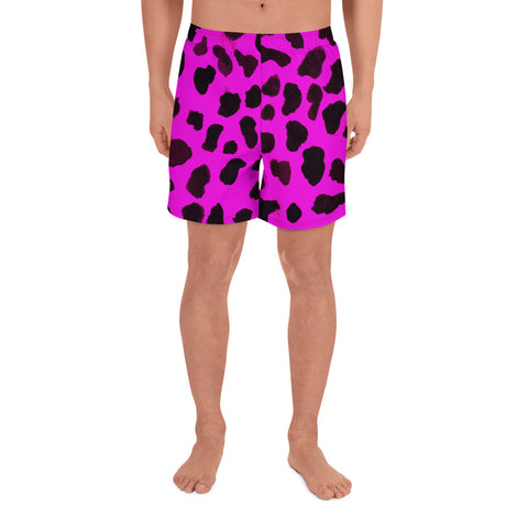 Pink Sexy Cow Print Farm Animal Men's Athletic Long Shorts - Made in Europe-Men's Long Shorts-XS-Heidi Kimura Art LLC