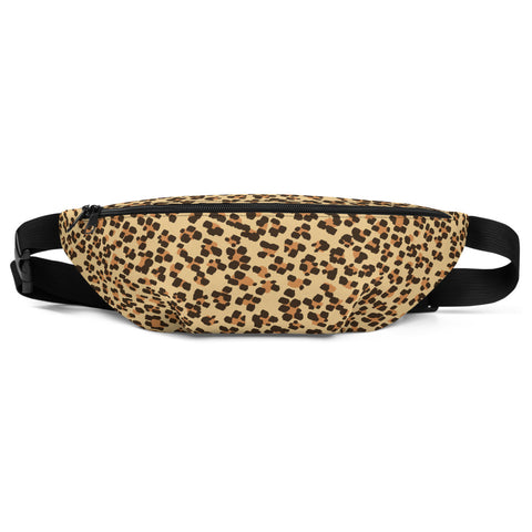 Brown Leopard Print Fanny Pack, Animal Print Premium Shoulder/ Waist Belt Bag- Made in USA/EU-Fanny Pack-S/M-Heidi Kimura Art LLC